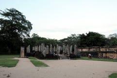 Royal Palace av konungen Parakramabahu i staden Polonnaruwa för världsarv Polonnaruwaen - medeltida huvudstad av Sri Lanka Royaltyfria Bilder