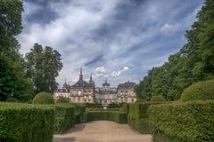 Royal Palace av La Granja de San Ildefonso, Spanien Arkivfoto