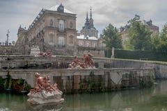 Royal Palace av La Granja de San Ildefonso, Spanien Arkivfoton