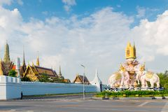 Royal Palace in Bangkok behind a white stone fence Stock Images