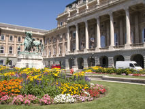 Royal Palace in Boedapest bij schemer Royalty-vrije Stock Fotografie