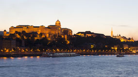 Royal Palace, Budapest in the evening Stock Photos