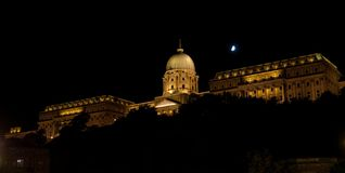 Royal Palace in Budapest at night Royalty Free Stock Photo