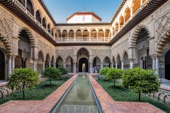 Real Alcazar in Seville. The royal palace built by Moor Kings in Seville Stock Photography