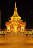 Royal Palace Cambodia at night, Phnom Penh, Cambodia. The Royal Palace is a complex of buildings which serves as the royal residence of the king of Cambodia Royalty Free Stock Photo