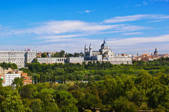 Royal Palace and Cathedral - Madrid Spain Stock Photos