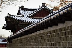 Royal Palace Changgyeonggung i vintern, Seoul, Korea arkivfoton