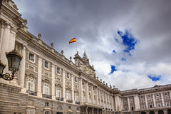 Royal Palace Clouds Sky Cityscape Spanish Flag Madrid Spain Royalty Free Stock Image