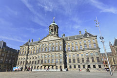 Royal Palace on the Dam Square, Amsterdam. AMSTERDAM-AUG. 20, 2012. Royal Palace at Aug. 20, 2012 in Amsterdam. Built as city hall during the Dutch Golden Age ( Royalty Free Stock Photography