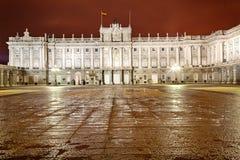 Royal Palace de Madrid en la noche Imágenes de archivo libres de regalías