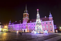 Royal Palace decorated for Christmas in Warsaw Stock Image