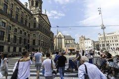 Royal Palace di Amsterdam sul quadrato della diga di mattina Settembre 2017 olandese Immagine Stock