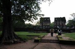 Royal Palace di re Parakramabahu nella città Polonnaruwa del patrimonio mondiale Fotografie Stock Libere da Diritti