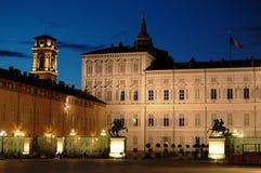Royal palace at dusk. Royal palace in Castle square at dusk Turin, Italy Stock Photo