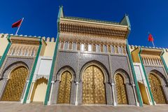 Royal Palace eller Dar el-Makhzen i Fez, Marocko royaltyfria bilder