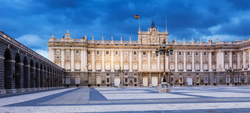 Royal Palace in evening time. Madri Royalty Free Stock Photo