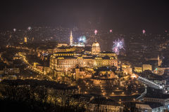 Royal Palace and Fireworks at Night in Budapest, Hungary Royalty Free Stock Photography
