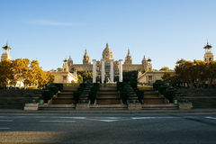 Royal Palace and the four columns of Puig i Cadafalch in Barcelo Royalty Free Stock Image