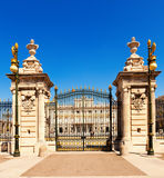 Royal Palace Gate in sunny day. Madrid. Front view of Royal Palace Gate in sunny day. Madrid, Spain Royalty Free Stock Photography