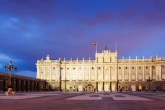 Royal Palace i skymning tajmar Royaltyfri Fotografi