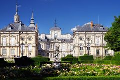 SEGOVIA, SPAIN - JULY 24, 2018: The Royal Palace of La Granja de San Ildefonso. The Royal Palace of La Granja de San Ildefonso known as La Granja, is an early royalty free stock photos