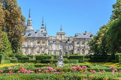 Royal Palace of La Granja de San Ildefonso, Spain. Central section of the garden facade of the Royal Palace of La Granja de San Ildefonso, Spain Royalty Free Stock Photo