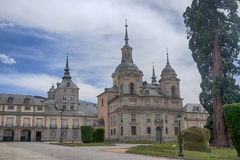 The Royal Palace of La Granja de San Ildefonso, Spain. View of the gardens and the Royal Palace of La Granja de San Ildefonso in the province of Segovia Royalty Free Stock Image