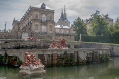 The Royal Palace of La Granja de San Ildefonso, Spain. View of the gardens and the Royal Palace of La Granja de San Ildefonso in the province of Segovia Stock Photos