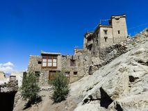 Royal palace of Leh. Leh`s Royal Palace stands on the Tsenmo hill above the city, Jammu and Kashmir, India Royalty Free Stock Photography