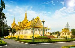 The Royal Palace is located Phnom Penh City capital of Cambodia. The  Royal  Palace  is  located  along  Sothearos  Blvd Stock Images