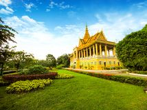 The Royal Palace is located Phnom Penh City capital of Cambodia. The  Royal  Palace  is  located  along  Sothearos  Blvd Royalty Free Stock Photography