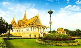 The Royal Palace is located Phnom Penh City capital of Cambodia. The  Royal  Palace  is  located  along  Sothearos  Blvd Royalty Free Stock Photos