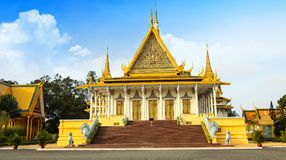 The Royal Palace is located Phnom Penh City capital of Cambodia. The  Royal  Palace  is  located  along  Sothearos  Blvd Royalty Free Stock Photo