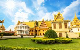 The Royal Palace is located Phnom Penh City capital of Cambodia. The  Royal  Palace  is  located  along  Sothearos  Blvd Royalty Free Stock Image