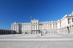 Royal palace of Madrid. Courtyard of the Royal palace of Madrid over blue sky, Spain Stock Photo