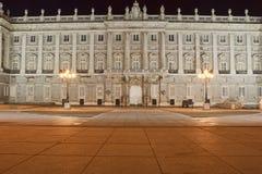 Royal Palace of Madrid. A part of the Royal Palace of Madrid shot at night Royalty Free Stock Image