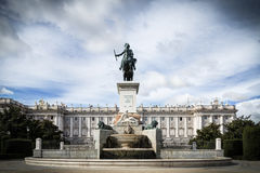 Royal Palace Madrid. Royal Palace in Madrid with blue sky and sculpture Royalty Free Stock Images