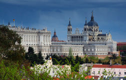 Royal palace in Madrid and cathedral Royalty Free Stock Image