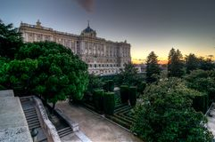 Royal Palace of Madrid and its garden Stock Images