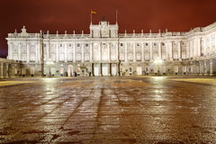 Royal Palace of Madrid at night Royalty Free Stock Images