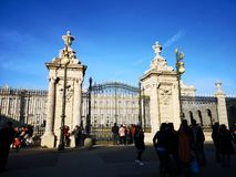 Entrance of the Royal Palace of Madrid, Spain. The Royal Palace of Madrid is the official residence of the King of Spain; nevertheless, the current kings do not stock image