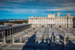 Royal Palace of Madrid is the official residence of the Spanish. Royal Family at the city of Madrid, Spain Stock Images