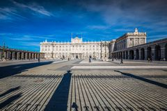 Royal Palace of Madrid is the official residence of the Spanish. Royal Family at the city of Madrid, Spain stock image