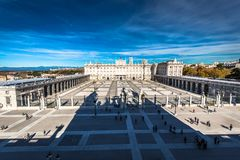 Royal Palace of Madrid is the official residence of the Spanish. Royal Family at the city of Madrid, Spain Royalty Free Stock Images