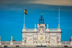 Royal Palace of Madrid is the official residence of the Spanish. Royal Family at the city of Madrid, Spain stock photo