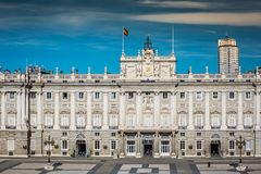 Royal Palace of Madrid is the official residence of the Spanish. Royal Family at the city of Madrid, Spain Royalty Free Stock Photography