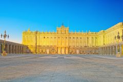 Royal Palace in Madrid Palacio Real de Madrid and Armory Squar. E in the evening time. Spain Royalty Free Stock Images