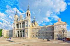 Royal Palace in Madrid Palacio Real de Madrid and Armory Squar. Madrid, Spain - June 04, 2017 : Royal Palace in Madrid Palacio Real de Madrid and Armory Square Royalty Free Stock Photography