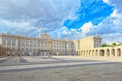 Royal Palace in Madrid Palacio Real de Madrid and Armory Squar. E in the evening time. Spain Royalty Free Stock Photos