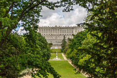 Royal palace of madrid, seen from afar Royalty Free Stock Image